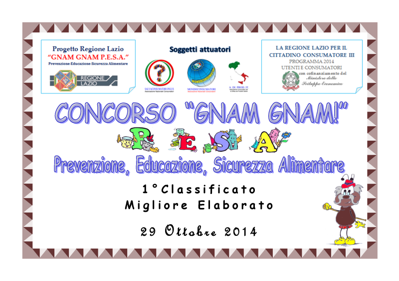Targa 1° Classificato - Prog. Gnam Gnam 2014